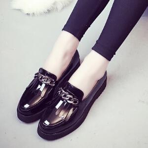 妃枫霏新款时尚小皮鞋女士浅口厚底单鞋圆头套脚英伦风休闲鞋乐福鞋