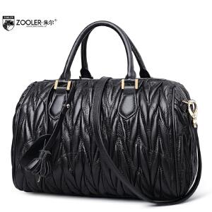 朱尔羊皮波士顿包气质女士新款包包大容量单肩手提真皮包女