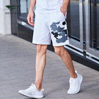 七匹狼运动短裤 17夏季新品 青少年百搭松紧腰头纯棉五分印花短裤
