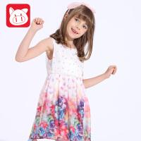 小猪班纳童装儿童公主裙2017夏装新款女童连衣裙中大童背心连衣裙