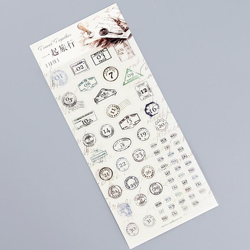 umi手帐日记本彩色贴创意韩国文具可爱表情贴纸立体diy数字贴纸_一起
