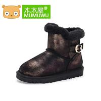 木木屋2016冬季新款女童靴子儿童棉鞋公主雪地靴中筒防滑耐磨靴子