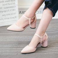 娜箐箐韩版粗跟高跟鞋尖头浅口女鞋舒适单鞋女