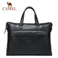 Camel/骆驼男包男士 手提包商务休闲单肩斜挎包男牛皮公文包包