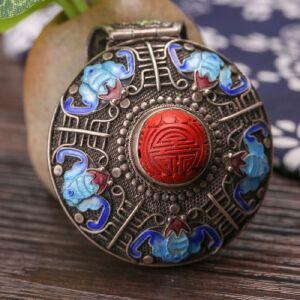 【只有一个】银花丝珐琅镶雕漆福寿双全吊坠