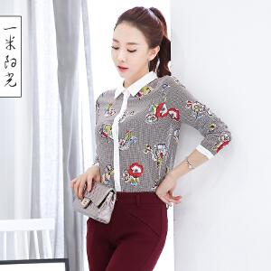 一米阳光2016秋装新款韩版雪纺衬衫女休闲百搭印花衬衫