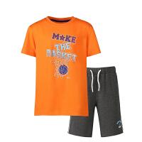 【618大促】鸿星尔克(ERKE)套装儿童运动套装 短袖圆领字母T恤 松紧带短裤五分裤