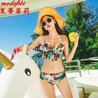 茉蒂菲莉 泳衣 女士比基尼夏季新款女装大码泡温泉游泳衣女式大胸聚拢带胸垫泳装三件套