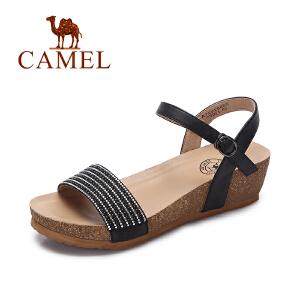 Camel/骆驼女鞋 2017春夏新款 时尚水钻坡跟凉鞋 皮带扣百搭凉鞋