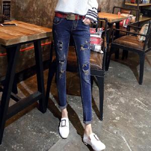 2017新款韩版破洞牛仔裤女修身显瘦中腰百搭小脚九分裤YC0825