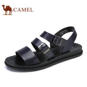 camel骆驼男鞋 2017夏季新品 日常时尚休闲牛皮凉鞋 清凉沙滩凉鞋