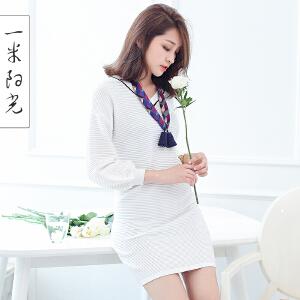一米阳光 2017春秋新款V领休闲针织连衣裙
