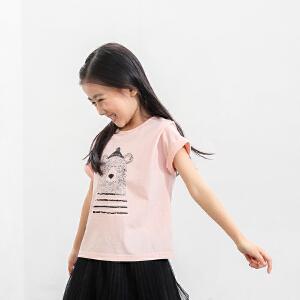amii童装2017春夏新款女童印花短袖T恤中大童儿童卡通熊T恤