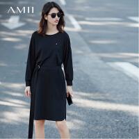 Amii[极简主义]2017春装新品飞机装饰配腰带系带卫衣裙连衣裙11720854