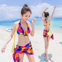比基尼三件套泳衣女大胸性感沙滩披纱遮肚小胸聚拢钢托泳装