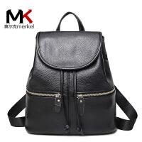 莫尔克(MERKEL)背包女双肩包抽带书包女士韩版皮包迷你小包包软皮休闲学院风机车旅行包