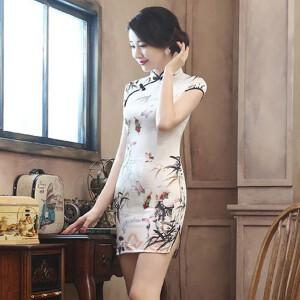 【当当年中庆】2017新款旗袍日常复古修身显瘦仿真丝短旗袍开衩优雅旗袍