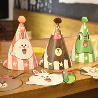 孩派 儿童生日派对用品 布朗熊生日聚会生日帽 派对皇冠party用品