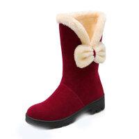 冬季女童靴子儿童雪地鞋大童学生中筒靴棉靴