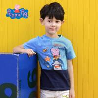 【满200减100】小猪佩奇正版童装男童夏装乔治猪蓝色纯棉短袖印花T恤