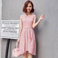 2017夏甜美田园红色格子雪纺无袖圆领显瘦收腰连衣裙