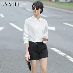 Amii[极简主义]2017春装新款宽松显瘦翻领长袖短款衬衫上衣女
