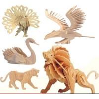 四联儿童玩具 动物立体拼图 创意幼儿园手工diy益智玩具小孩生日奖励礼品小奖品 中国龙 企鹅 马 老虎 狮子模型