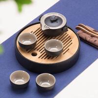 特价日式禅风黑陶旅行茶具套装功夫茶具整套台湾�\釉陶瓷茶具茶盘