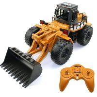 汇纳 6通道无线遥控 合金推土机充电工程车模型 儿童玩具遥控车520