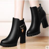 古奇天伦新款粗跟马丁靴英伦风短靴女鞋秋 新款高跟女靴子加绒8498