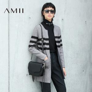 【AMII超级大牌日】[极简主义]2017年春季新款条纹撞色中长毛衣女开衫外套11672874