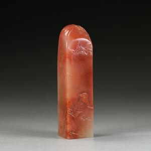 范康纯作  朱砂红老挝冻石  精雕喜上眉梢薄意印章 jd2675