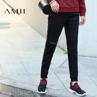 【AMII超级大牌日】[极简主义]2016秋冬新款纯色加绒大码运动休闲长裤女11633518