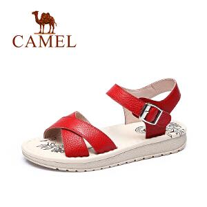 camel骆驼女鞋 夏季新款柔软牛皮凉鞋 简约舒适耐磨女鞋