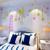创意星星月亮卡通背景墙贴饰品儿童房天花板3d水晶亚克力立体墙贴