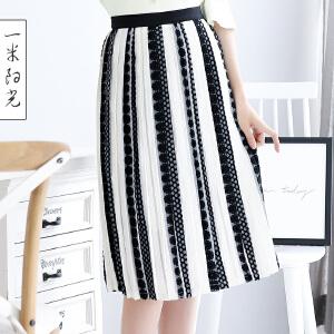 一米阳光 2017秋新款韩版a字裙中长款百褶裙韩版修身高腰裙
