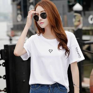 2017韩版女装夏装新款简约绣花bf风宽松上衣棉质短袖T恤女学生