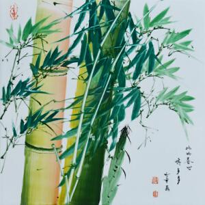 中国竹画泰斗非遗传承人 童承天 釉上新彩《此物养心情多多》