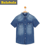 巴拉巴拉童装男童牛仔衬衫短袖中大童男孩上衣2017夏装儿童衬衣男