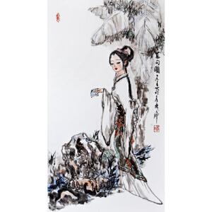 《觅句图》釉上彩瓷板 李华中国当代著名人物画家