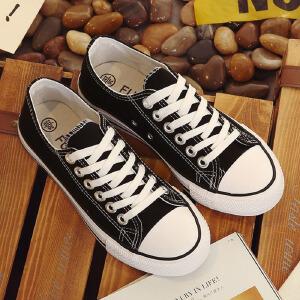白领公社 帆布鞋 女春魔术贴帆布鞋女内增高黑色布鞋韩版女鞋休闲鞋百搭鞋子学生板鞋
