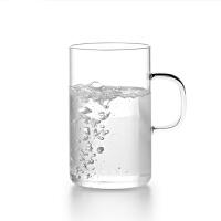 尚明 玻璃杯高硼硅耐热透明玻璃水杯直身杯花茶杯茶具水杯 情侣杯套装 男女杯个人办公杯果汁杯 300ml 两只装
