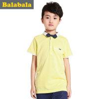 男童米黄色简约英伦范短袖POLO衫