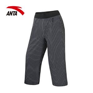 安踏女装七分裤 2017夏季新款条纹休闲舒适时尚运动女裤16727510