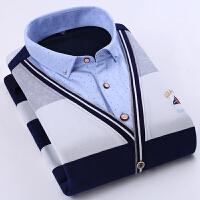 男士秋冬假两件加绒加厚上衣男保暖假两件冬修身免烫针织衫长袖大码衬衫