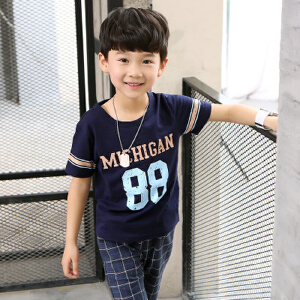 【当当年中庆】2017夏季童装 88印花格子裤男童两件套装