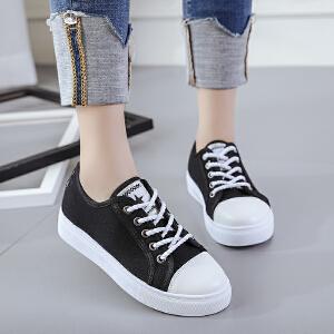 新款休闲鞋透气单鞋帆布鞋百搭简约韩版板鞋学生鞋平底系带女鞋