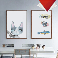 御目 壁画 北欧装饰画客厅餐厅挂画儿童房床头画卡通墙画猫鱼现代简约个性挂饰