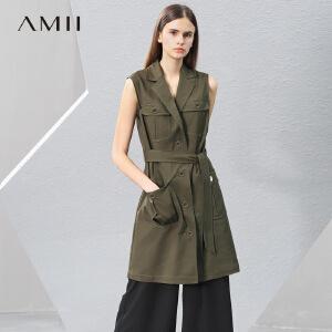 Amii2017春新女大码休闲配腰带马夹连衣裙11780635