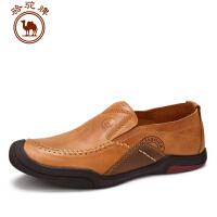 骆驼牌男鞋 春季新品男士 休闲软底舒适手工缝线套脚男皮鞋